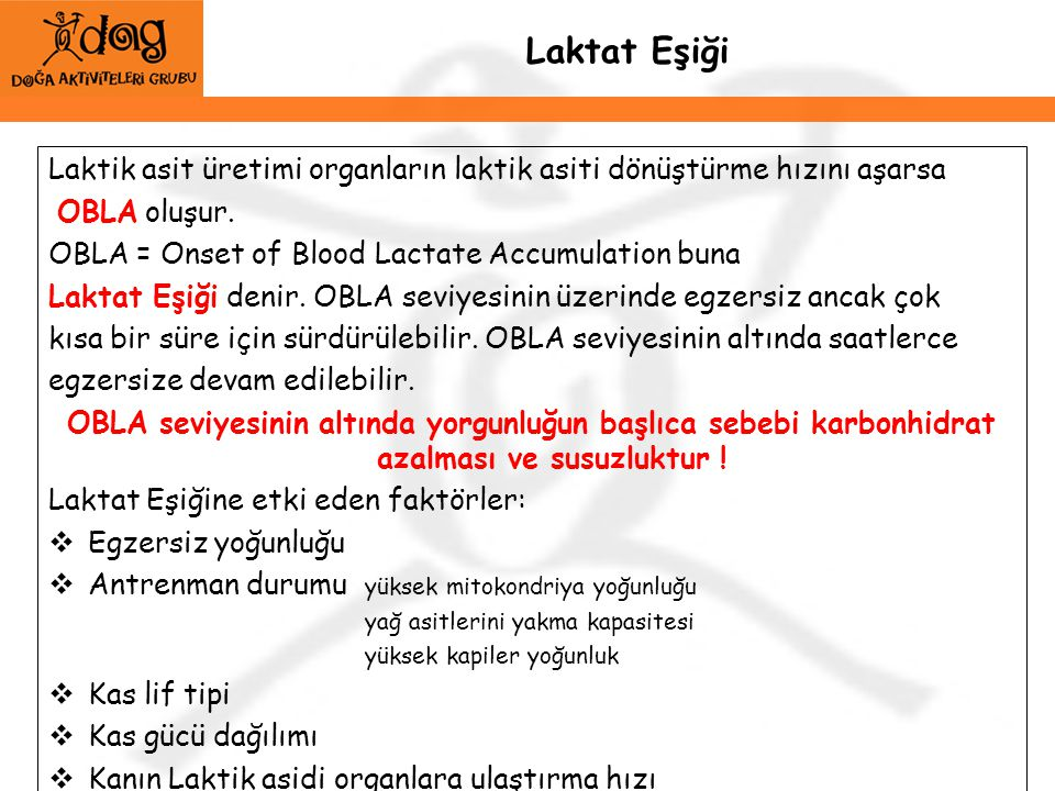 Laktat Eşiği Laktik asit üretimi organların laktik asiti dönüştürme hızını aşarsa. OBLA oluşur. OBLA = Onset of Blood Lactate Accumulation buna.