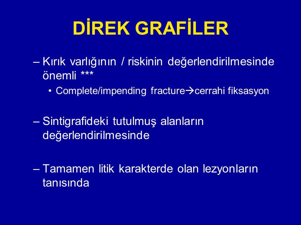 DİREK GRAFİLER Kırık varlığının / riskinin değerlendirilmesinde önemli *** Complete/impending fracturecerrahi fiksasyon.