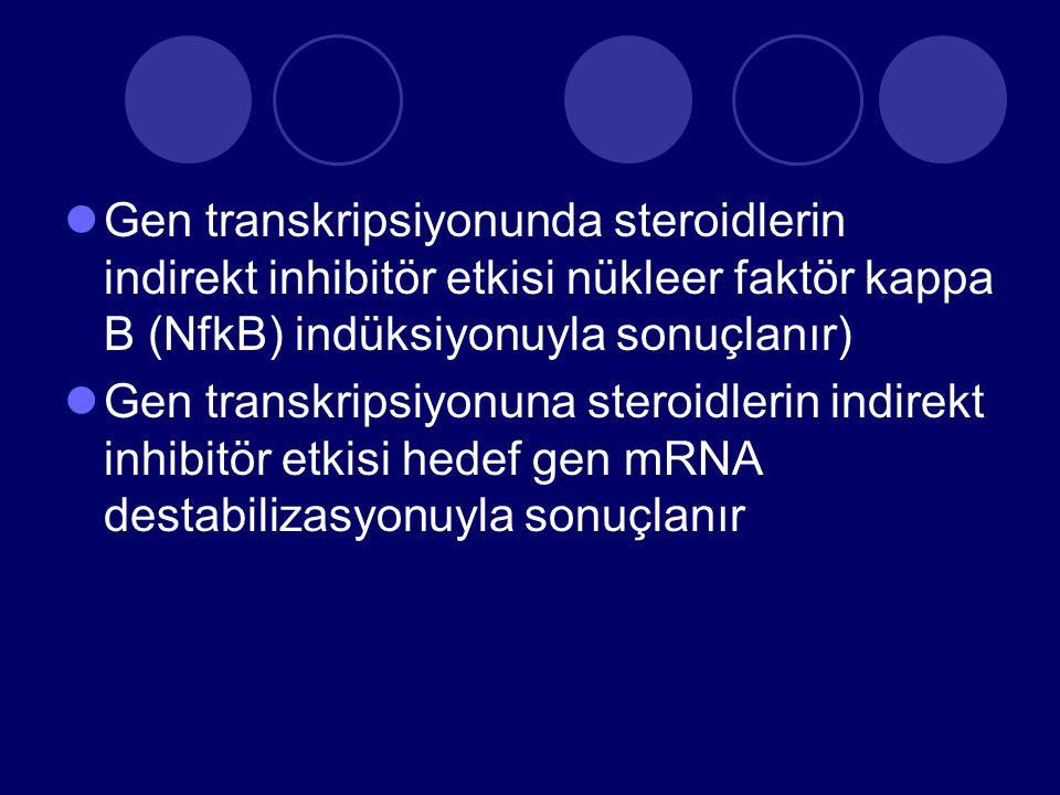 Gen transkripsiyonunda steroidlerin indirekt inhibitör etkisi nükleer faktör kappa B (NfkB) indüksiyonuyla sonuçlanır)