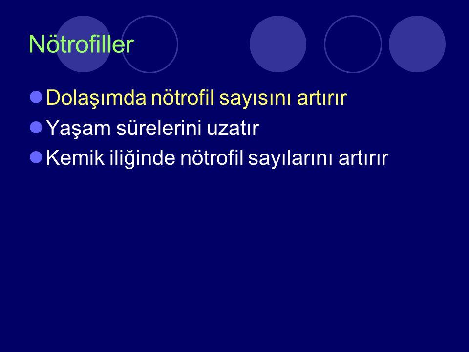 Nötrofiller Dolaşımda nötrofil sayısını artırır