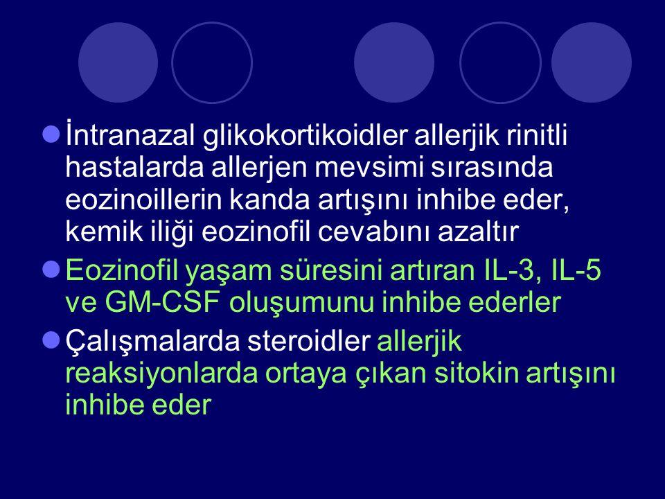 İntranazal glikokortikoidler allerjik rinitli hastalarda allerjen mevsimi sırasında eozinoillerin kanda artışını inhibe eder, kemik iliği eozinofil cevabını azaltır