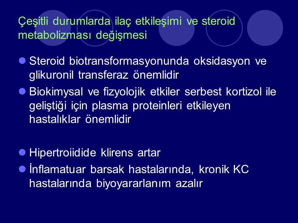 Çeşitli durumlarda ilaç etkileşimi ve steroid metabolizması değişmesi