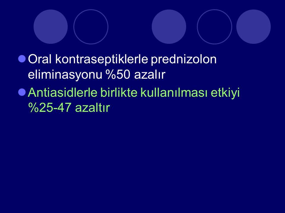 Oral kontraseptiklerle prednizolon eliminasyonu %50 azalır