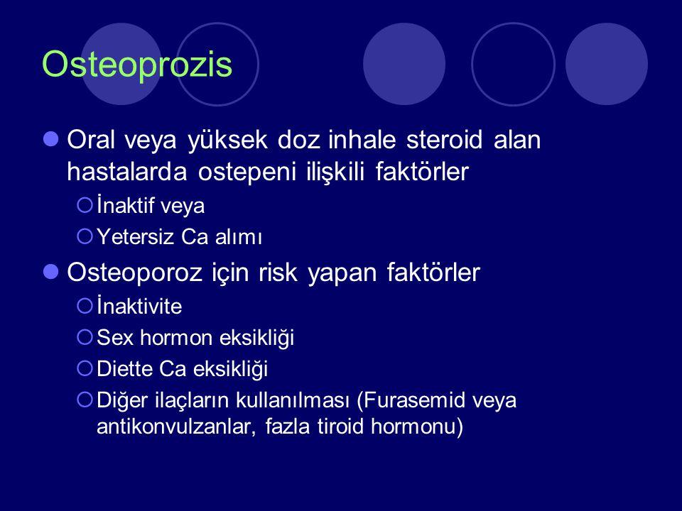 Osteoprozis Oral veya yüksek doz inhale steroid alan hastalarda ostepeni ilişkili faktörler. İnaktif veya.