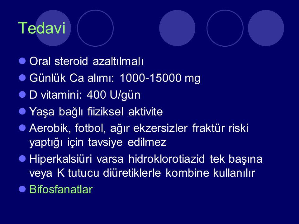 Tedavi Oral steroid azaltılmalı Günlük Ca alımı: 1000-15000 mg