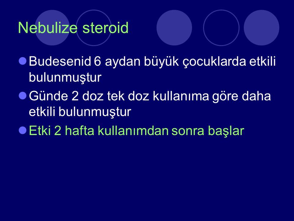 Nebulize steroid Budesenid 6 aydan büyük çocuklarda etkili bulunmuştur
