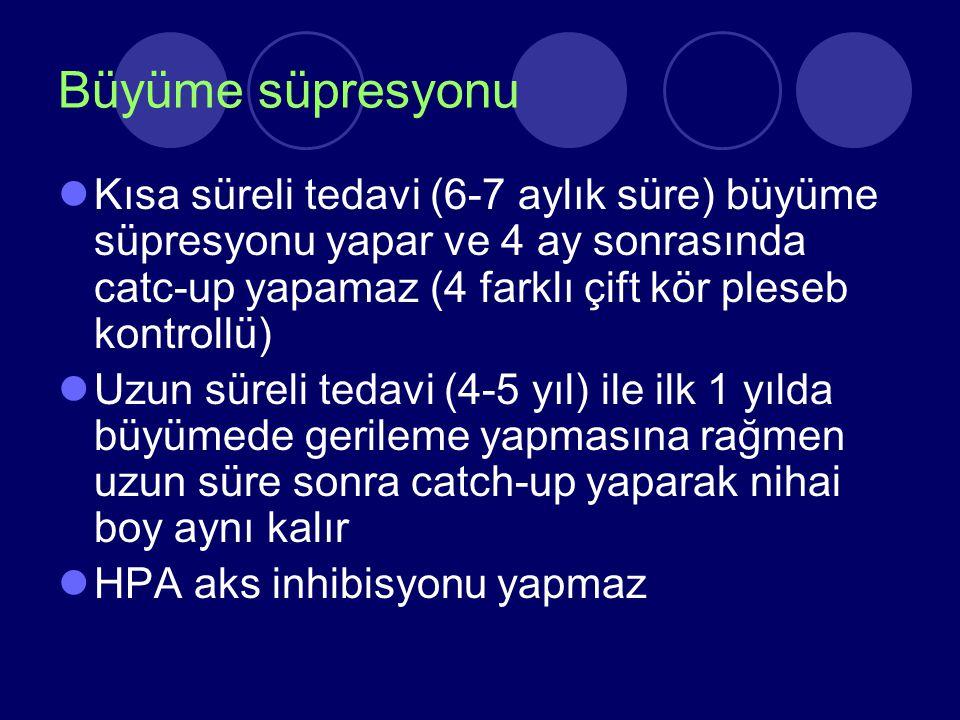 Büyüme süpresyonu Kısa süreli tedavi (6-7 aylık süre) büyüme süpresyonu yapar ve 4 ay sonrasında catc-up yapamaz (4 farklı çift kör pleseb kontrollü)