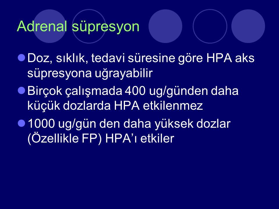 Adrenal süpresyon Doz, sıklık, tedavi süresine göre HPA aks süpresyona uğrayabilir.