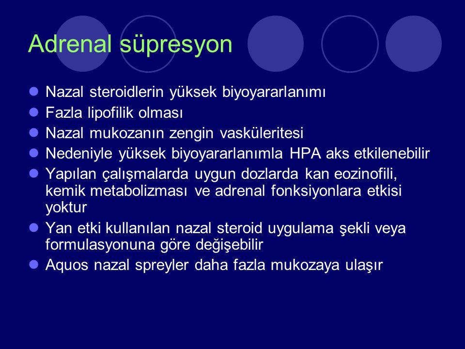 Adrenal süpresyon Nazal steroidlerin yüksek biyoyararlanımı