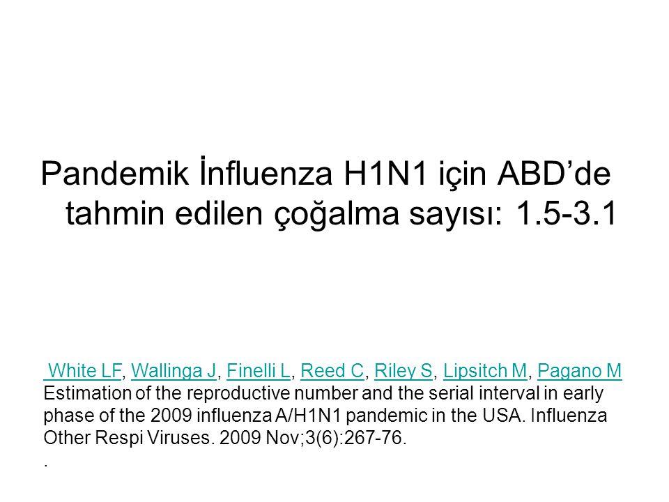 Pandemik İnfluenza H1N1 için ABD'de tahmin edilen çoğalma sayısı: 1