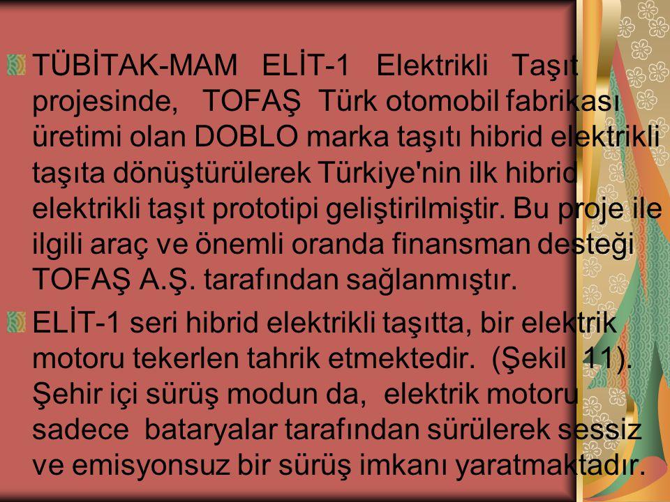 TÜBİTAK-MAM ELİT-1 Elektrikli Taşıt projesinde, TOFAŞ Türk otomobil fabrikası üretimi olan DOBLO marka taşıtı hibrid elektrikli taşıta dönüştürülerek Türkiye nin ilk hibrid elektrikli taşıt prototipi geliştirilmiştir. Bu proje ile ilgili araç ve önemli oranda finansman desteği TOFAŞ A.Ş. tarafından sağlanmıştır.
