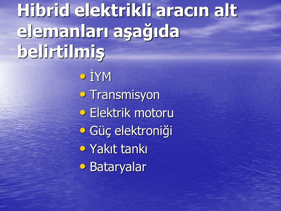 Hibrid elektrikli aracın alt elemanları aşağıda belirtilmiş