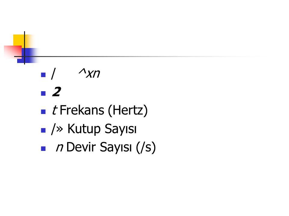 / ^xn 2 t Frekans (Hertz) /» Kutup Sayısı n Devir Sayısı (/s)