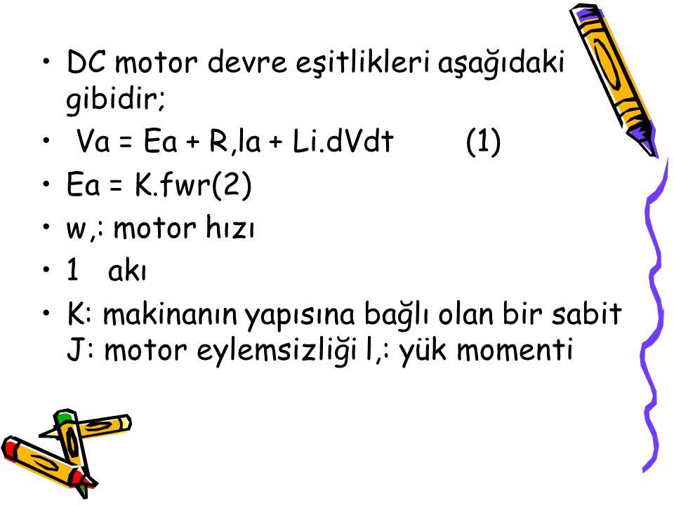 DC motor devre eşitlikleri aşağıdaki gibidir;