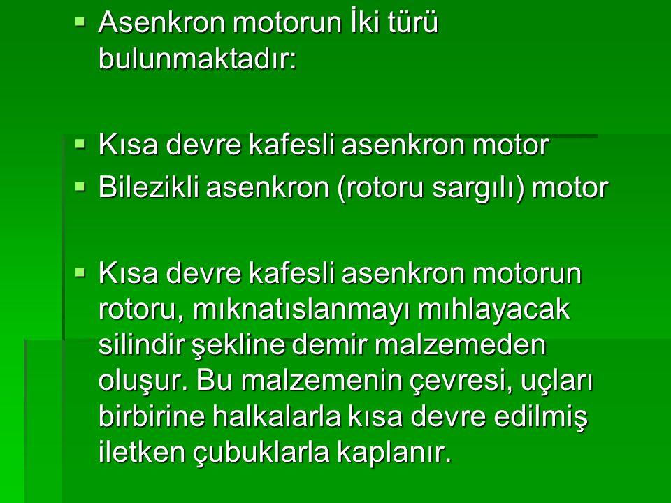 Asenkron motorun İki türü bulunmaktadır: