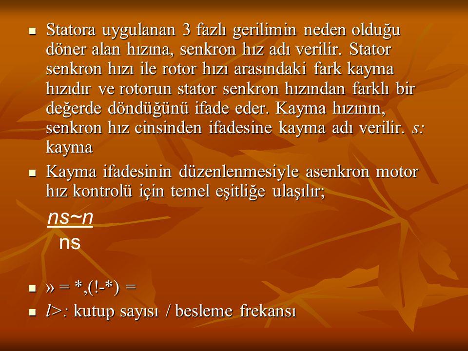 Statora uygulanan 3 fazlı gerilimin neden olduğu döner alan hızına, senkron hız adı verilir. Stator senkron hızı ile rotor hızı arasındaki fark kayma hızıdır ve rotorun stator senkron hızından farklı bir değerde döndüğünü ifade eder. Kayma hızının, senkron hız cinsinden ifadesine kayma adı verilir. s: kayma