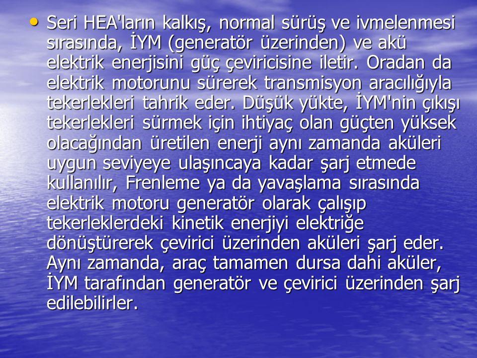 Seri HEA ların kalkış, normal sürüş ve ivmelenmesi sırasında, İYM (generatör üzerinden) ve akü elektrik enerjisini güç çeviricisine iletir.