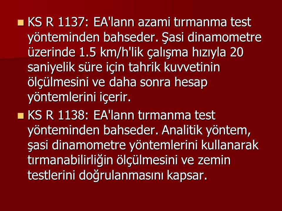KS R 1137: EA lann azami tırmanma test yönteminden bahseder
