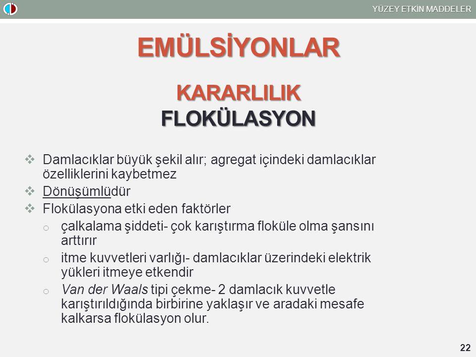 EMÜLSİYONLAR KARARLILIK FLOKÜLASYON