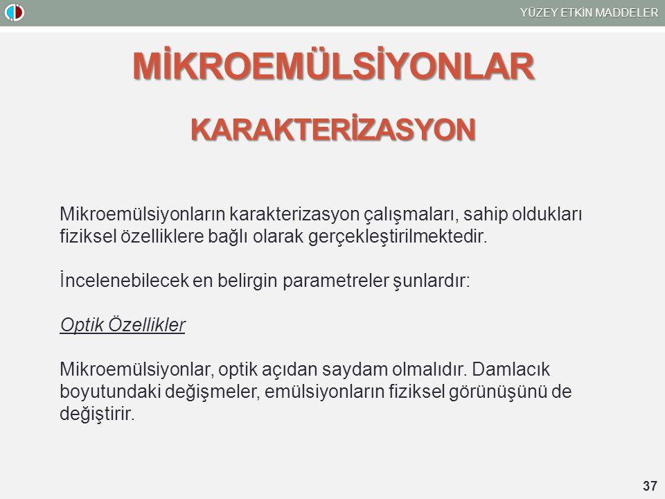 MİKROEMÜLSİYONLAR KARAKTERİZASYON