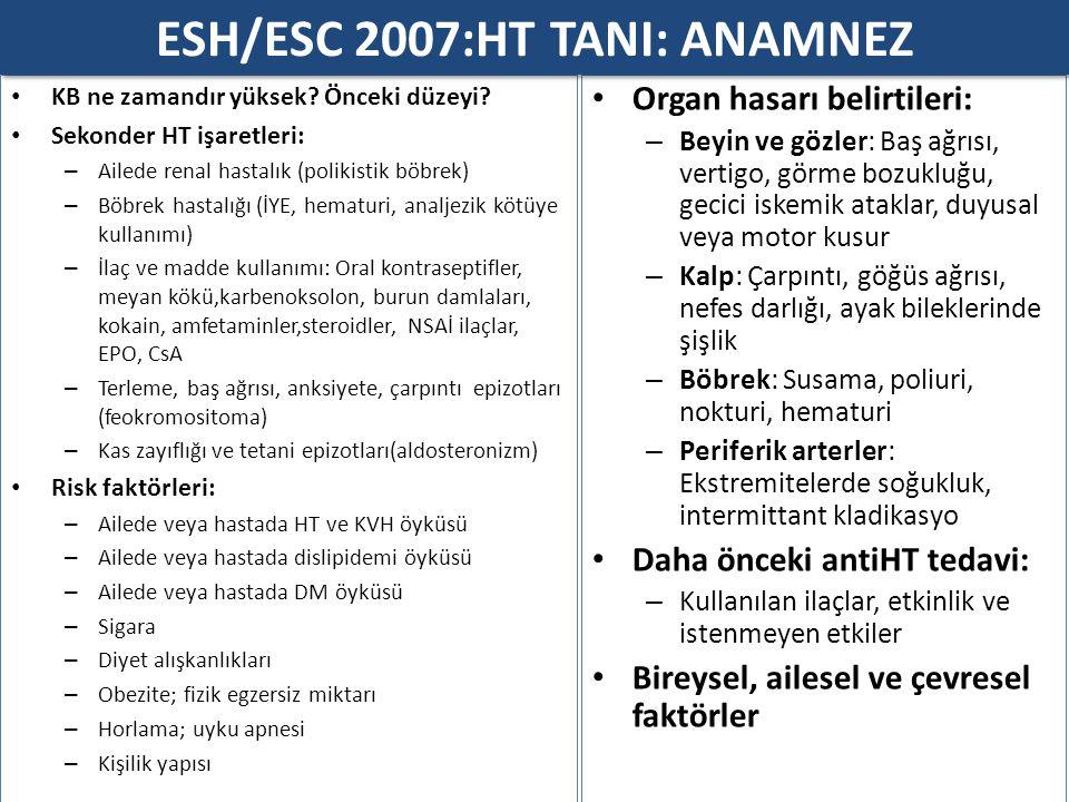 ESH/ESC 2007:HT TANI: ANAMNEZ