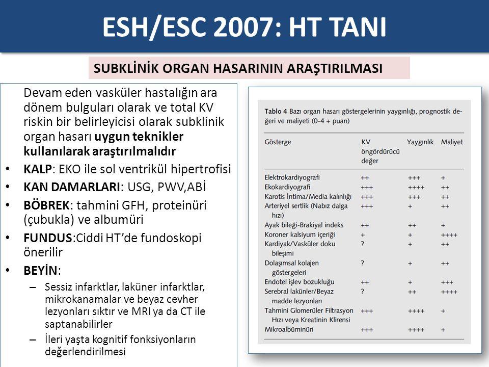 ESH/ESC 2007: HT TANI SUBKLİNİK ORGAN HASARININ ARAŞTIRILMASI