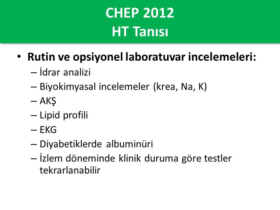 CHEP 2012 HT Tanısı Rutin ve opsiyonel laboratuvar incelemeleri: