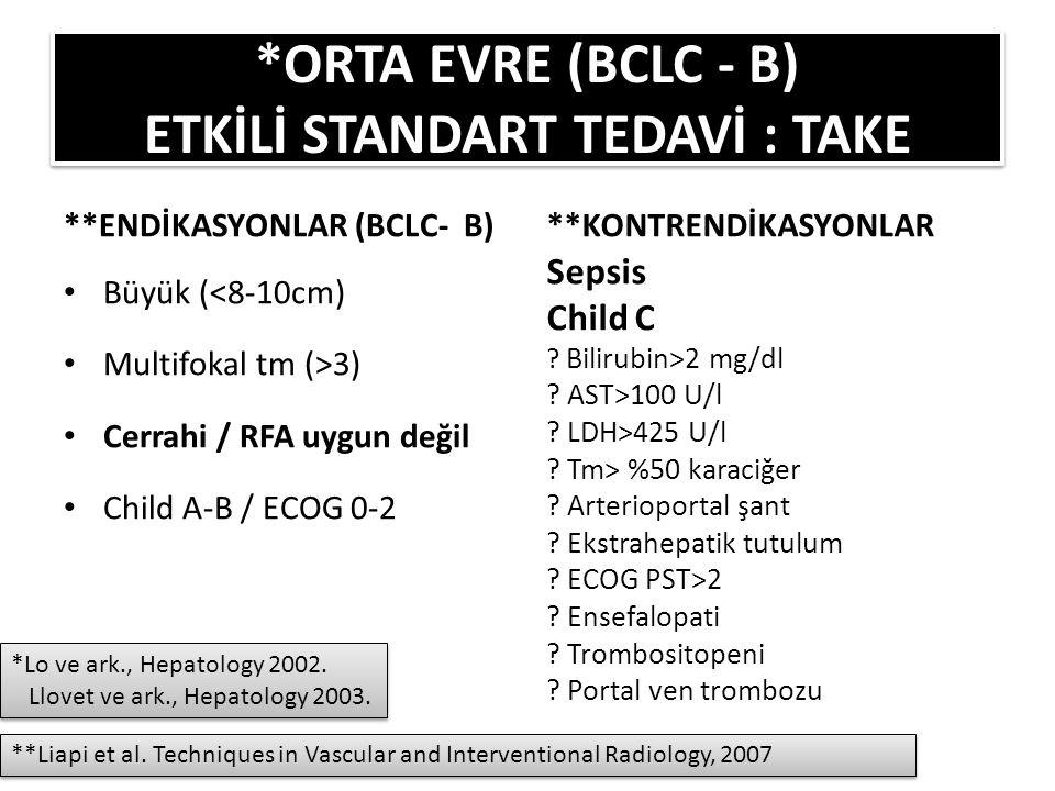 *ORTA EVRE (BCLC - B) ETKİLİ STANDART TEDAVİ : TAKE
