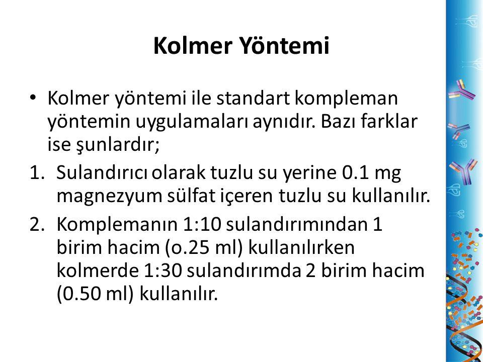 Kolmer Yöntemi Kolmer yöntemi ile standart kompleman yöntemin uygulamaları aynıdır. Bazı farklar ise şunlardır;