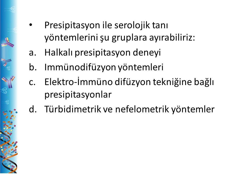 Presipitasyon ile serolojik tanı yöntemlerini şu gruplara ayırabiliriz: