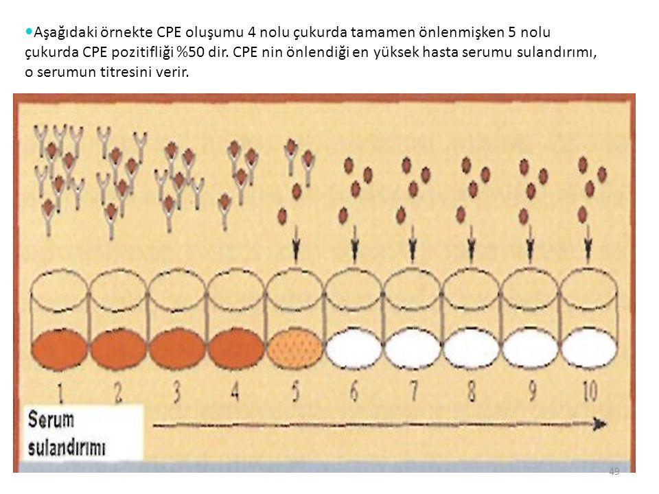 Aşağıdaki örnekte CPE oluşumu 4 nolu çukurda tamamen önlenmişken 5 nolu çukurda CPE pozitifliği %50 dir.