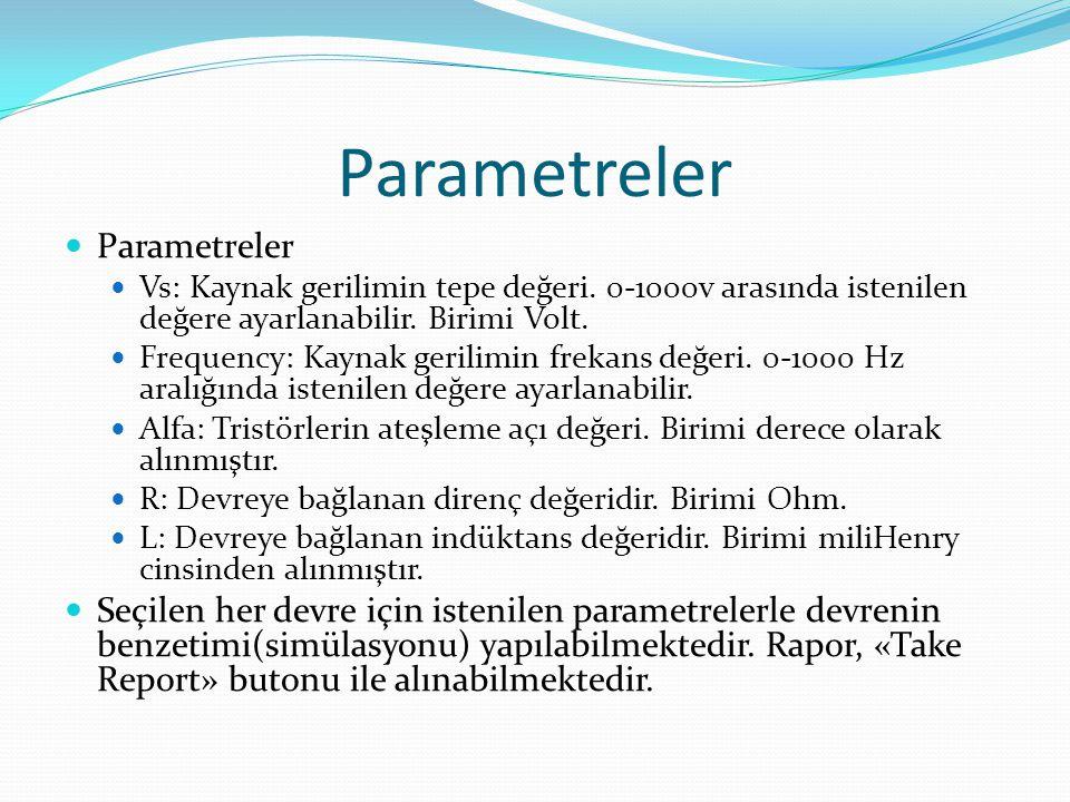 Parametreler Parametreler