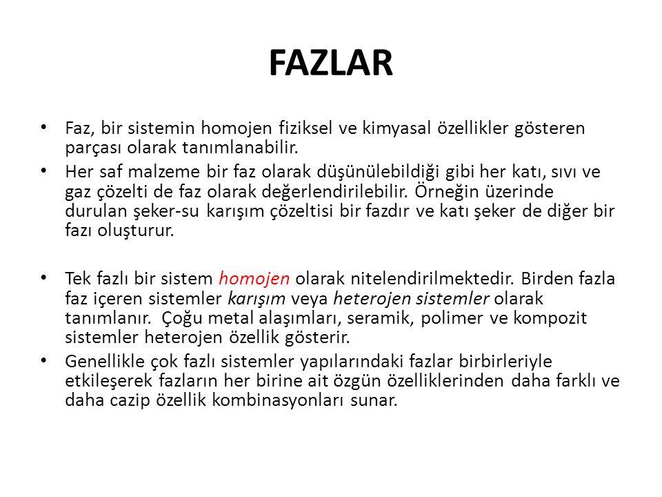 FAZLAR Faz, bir sistemin homojen fiziksel ve kimyasal özellikler gösteren parçası olarak tanımlanabilir.