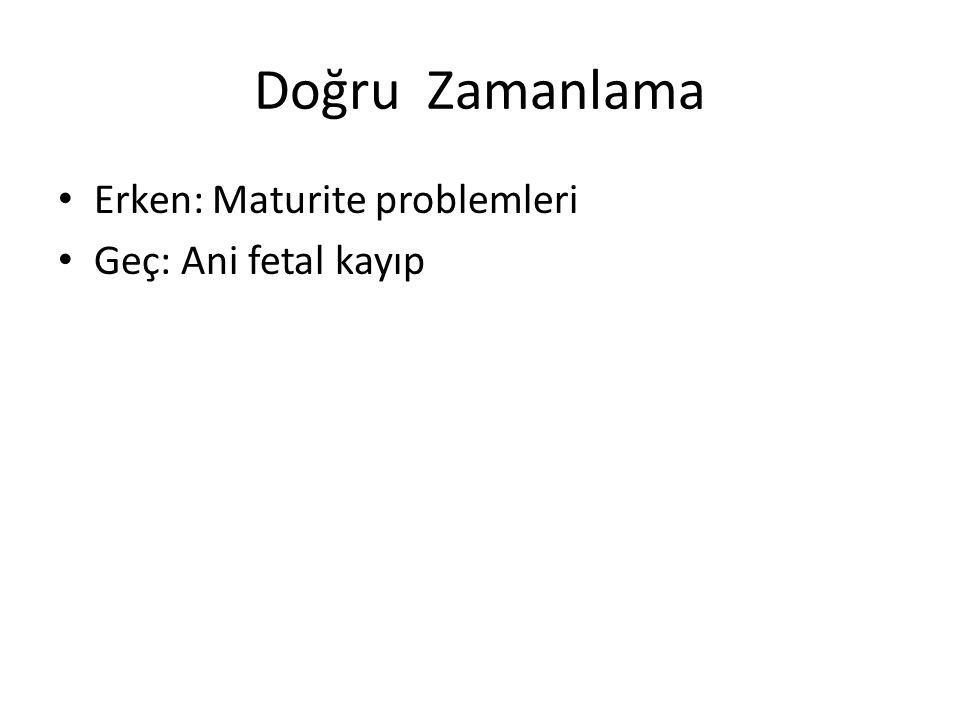 Doğru Zamanlama Erken: Maturite problemleri Geç: Ani fetal kayıp