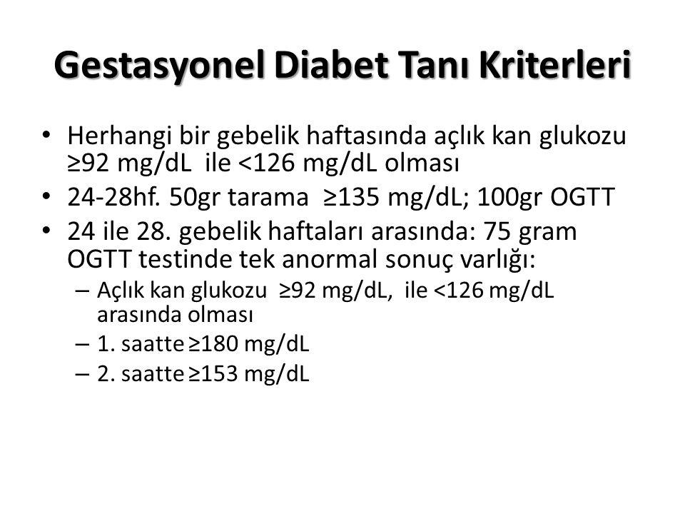 Gestasyonel Diabet Tanı Kriterleri