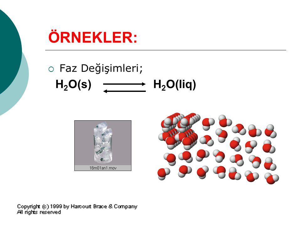 ÖRNEKLER: Faz Değişimleri; H2O(s) H2O(liq)