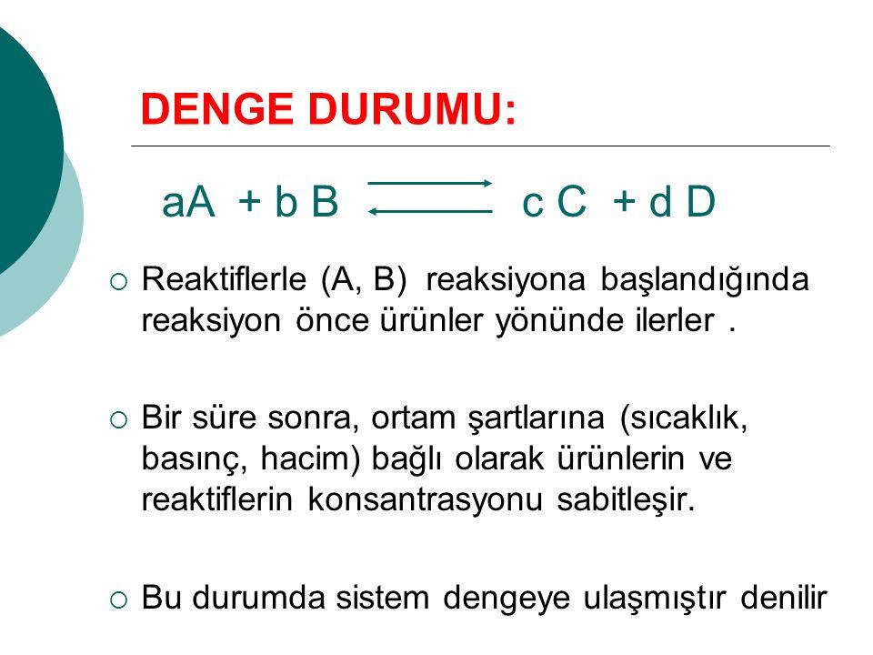 DENGE DURUMU: aA + b B c C + d D