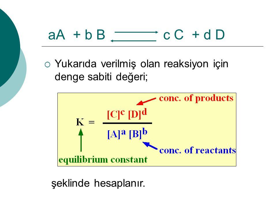 aA + b B c C + d D şeklinde hesaplanır.