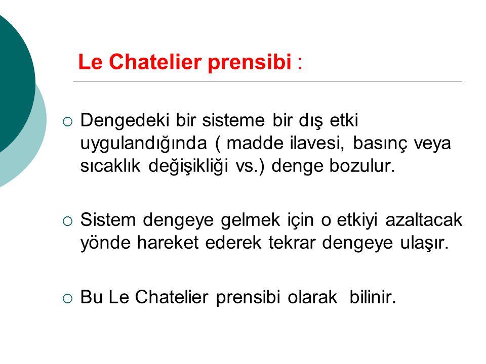 Le Chatelier prensibi :