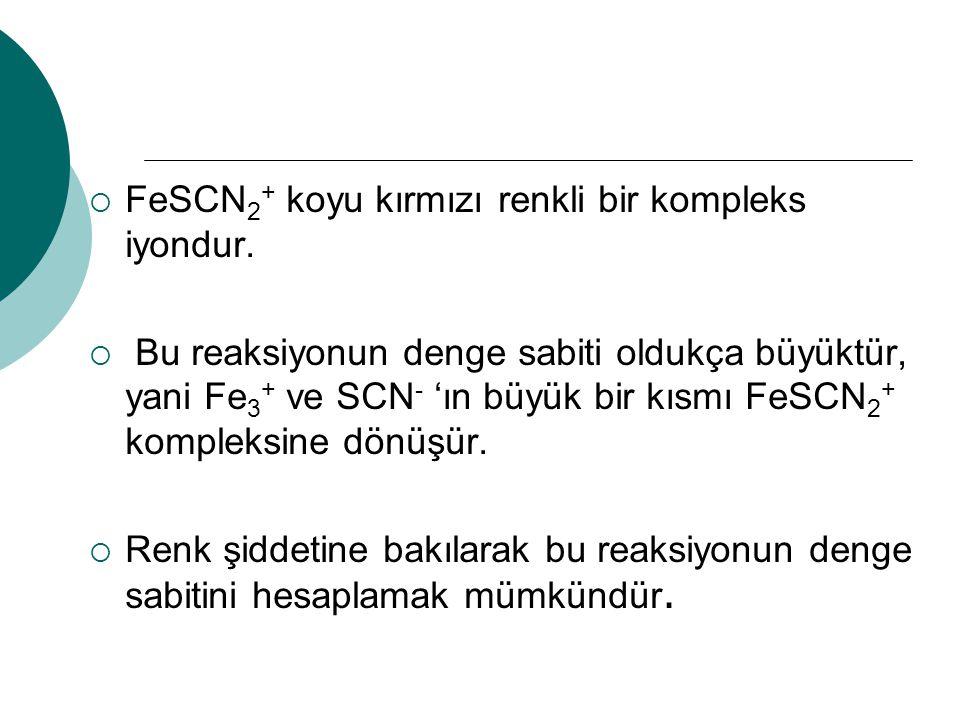 FeSCN2+ koyu kırmızı renkli bir kompleks iyondur.