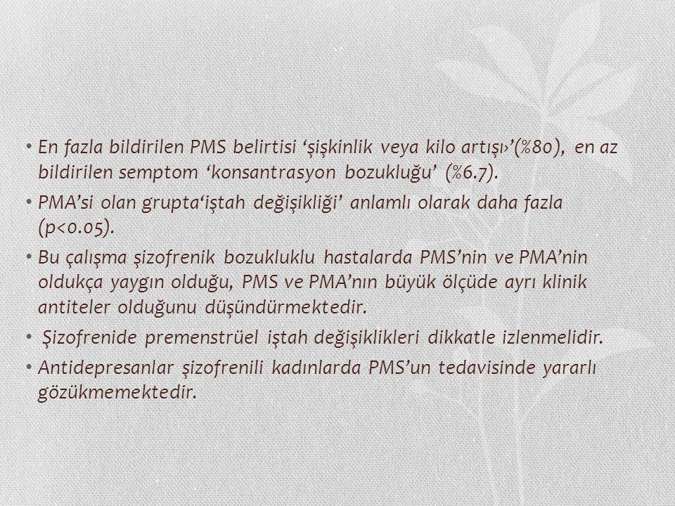 En fazla bildirilen PMS belirtisi 'şişkinlik veya kilo artışı›'(%80), en az bildirilen semptom 'konsantrasyon bozukluğu' (%6.7).