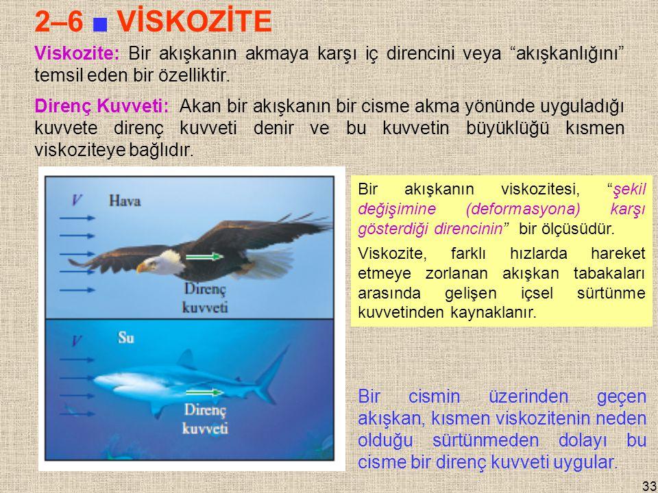 2–6 ■ VİSKOZİTE Viskozite: Bir akışkanın akmaya karşı iç direncini veya akışkanlığını temsil eden bir özelliktir.