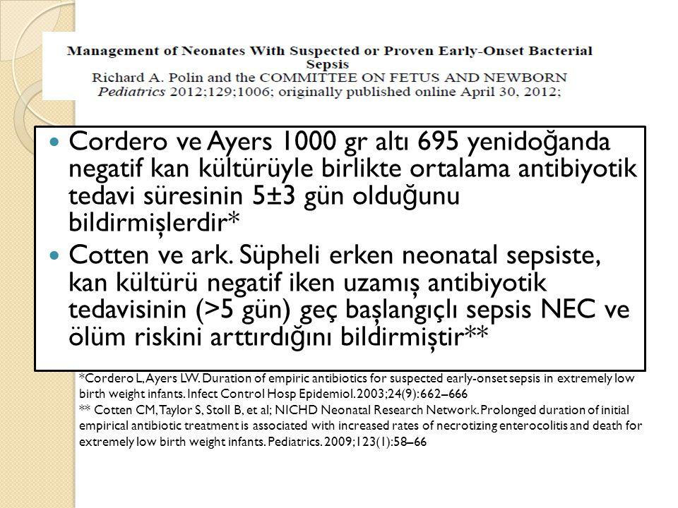 Cordero ve Ayers 1000 gr altı 695 yenidoğanda negatif kan kültürüyle birlikte ortalama antibiyotik tedavi süresinin 5±3 gün olduğunu bildirmişlerdir*