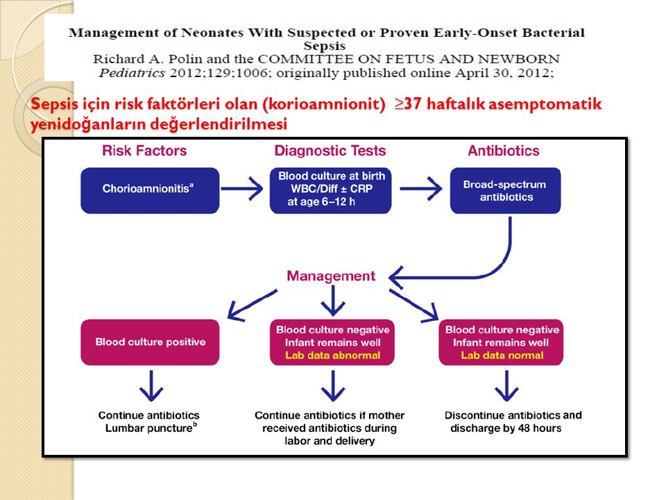 Sepsis için risk faktörleri olan (korioamnionit) ≥37 haftalık asemptomatik yenidoğanların değerlendirilmesi