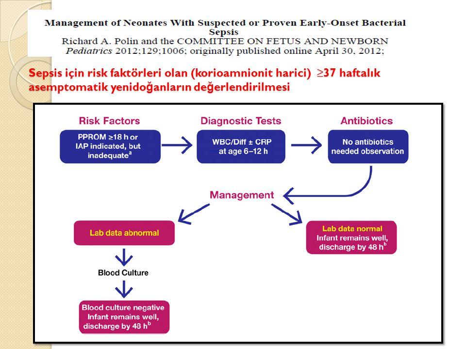 Sepsis için risk faktörleri olan (korioamnionit harici) ≥37 haftalık asemptomatik yenidoğanların değerlendirilmesi