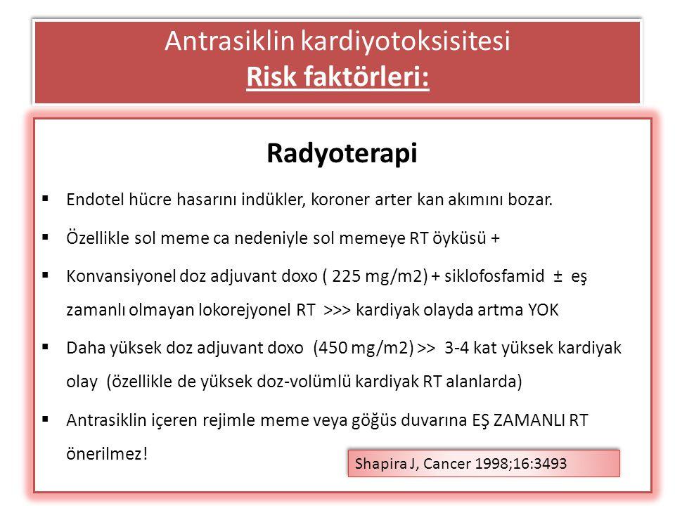 Antrasiklin kardiyotoksisitesi Risk faktörleri: