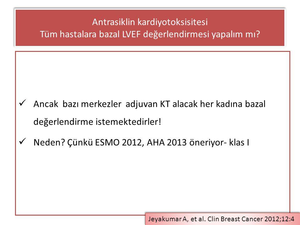 Neden Çünkü ESMO 2012, AHA 2013 öneriyor- klas I