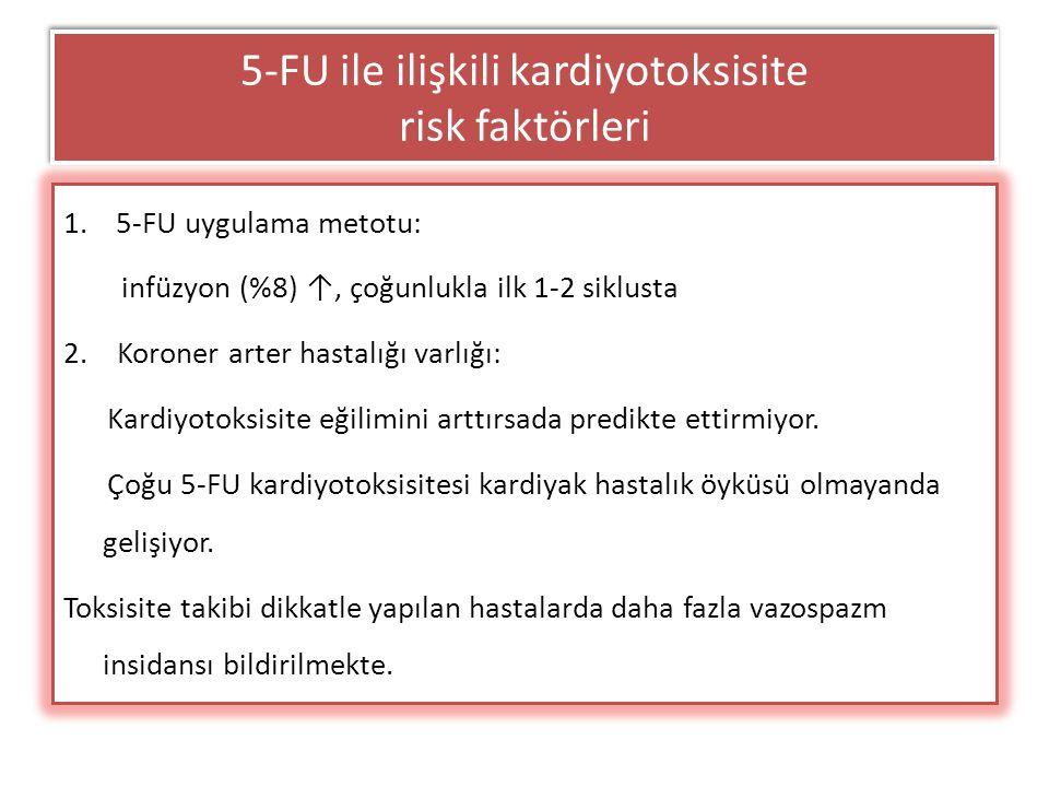 5-FU ile ilişkili kardiyotoksisite risk faktörleri