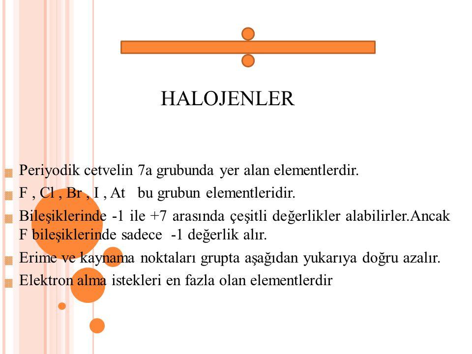 HALOJENLER Periyodik cetvelin 7a grubunda yer alan elementlerdir.
