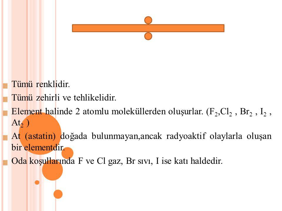 Tümü renklidir. Tümü zehirli ve tehlikelidir. Element halinde 2 atomlu moleküllerden oluşurlar. (F2,Cl2 , Br2 , I2 , At2 )